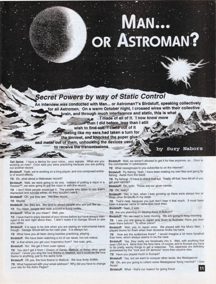 CLICK HERE to download Man... Or Astroman? interview from Tail Spins #25 (April/May 1996) by Suzy Nabors